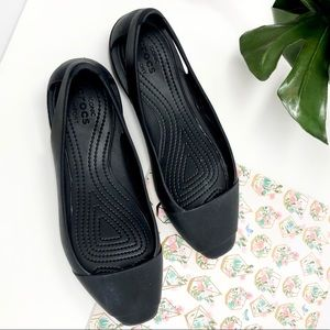 CROCS Sienna Ballet Flats Comfort Black Shoes 8 W
